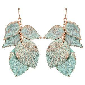 Jewelry - Faux Patina Leaf Drop Earrings NWOT